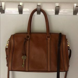 Fossil brown leather small duffel.